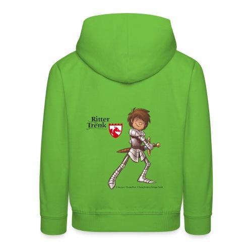 Kinder Premium Hoodie - Ein offizielles Ritter Trenk Fanprodukt vom Oetinger Verlag. Viele weitere tolle T-Shirts, Langarmshirts und Pullover von Ritter Trenk Tausendschlag, Ferkelchen, Thekla und ihren Abenteuern auf Burg Hohenlob findet ihr im Ritter Trenk Fanshop.