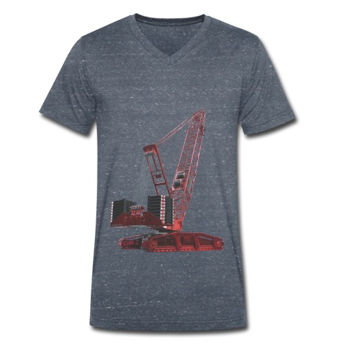 Crawler Crane 750t - Red - Men's Organic V-Neck T-Shirt by Stanley & Stella