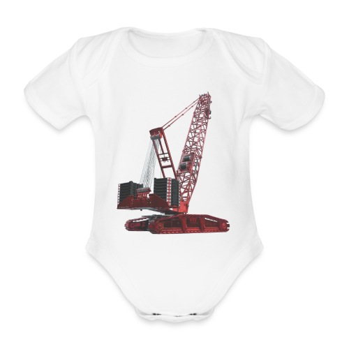 Crawler Crane 750t - Red - Organic Short-sleeved Baby Bodysuit