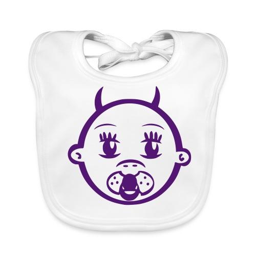 Lätzchen  Devil Flockdruck lila - Baby Bio-Lätzchen