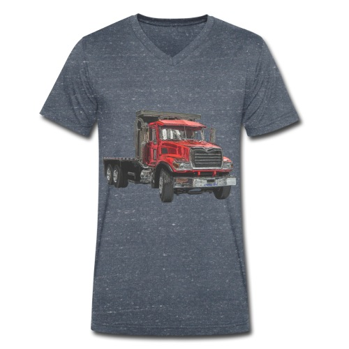 Flatbed Truck 3-axle - Red - Men's Organic V-Neck T-Shirt by Stanley & Stella