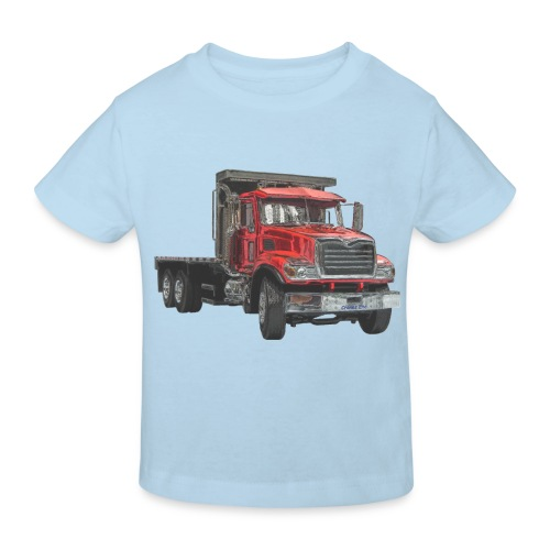 Flatbed Truck 3-axle - Red - Kids' Organic T-Shirt