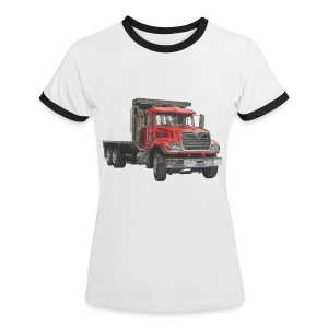 Flatbed Truck 3-axle - Red - Women's Ringer T-Shirt