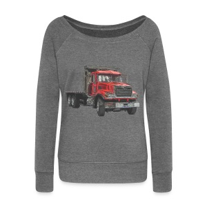 Flatbed Truck 3-axle - Red - Women's Boat Neck Long Sleeve Top