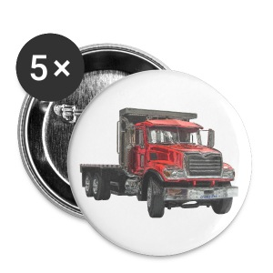 Flatbed Truck 3-axle - Red - Buttons medium 32 mm