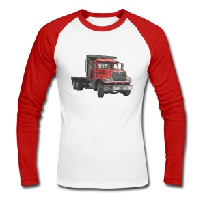 Flatbed Truck 3-axle - Red - Men's Long Sleeve Baseball T-Shirt