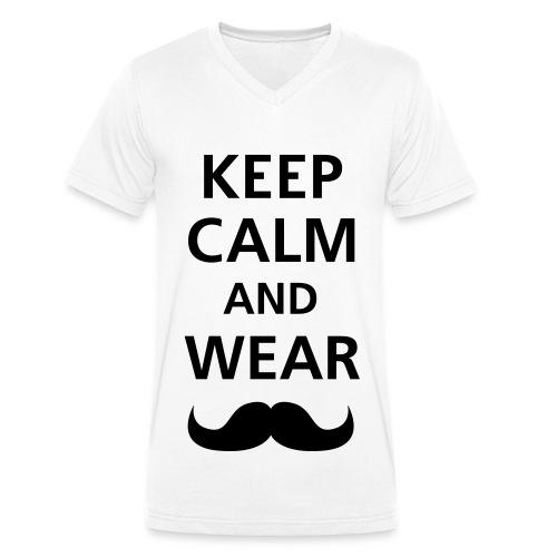 T-shirt Homme Col V Keep calm, Wear Mustache - T-shirt bio col V Stanley & Stella Homme