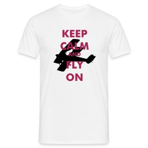 Keep Calm Fly On Biplane - Men's T-Shirt