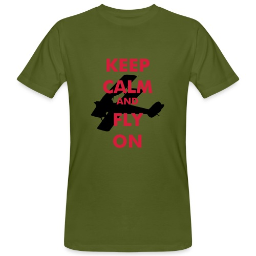 Keep Calm Fly On Biplane Slimfit - Men's Organic T-Shirt