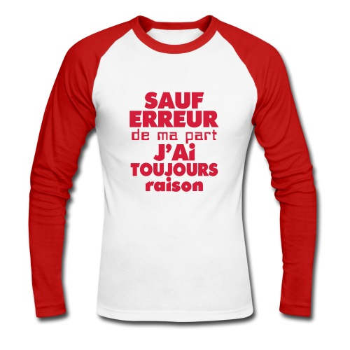 T-shirt manches longues Homme - T-shirt baseball manches longues Homme