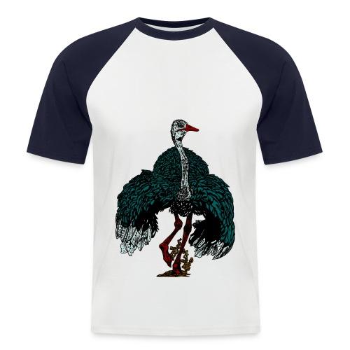 mannen T-shirt met struisvogel - Mannen baseballshirt korte mouw