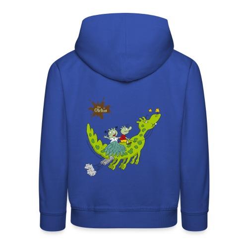 Kinder Premium Hoodie - Ein offizielles Olchi - T-Shirt. Die Olchis vom Oetinger Verlag. Weitere tolle T-Shirts, Langarmshirts und Pullover von den Olchis aus Schmuddelfing und ihrem Drachen Feuerstuhl findet ihr im Olchis T-Shirt-Shop.