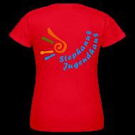 T-Shirts ~ Frauen T-Shirt ~ Jugendhaus Teamer Girlie Shirt Name vorne und Logo hinten