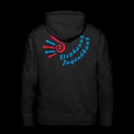 Pullover & Hoodies ~ Männer Premium Kapuzenpullover ~ Jugendhaus Sweater mit Name vorne und Logo hinten