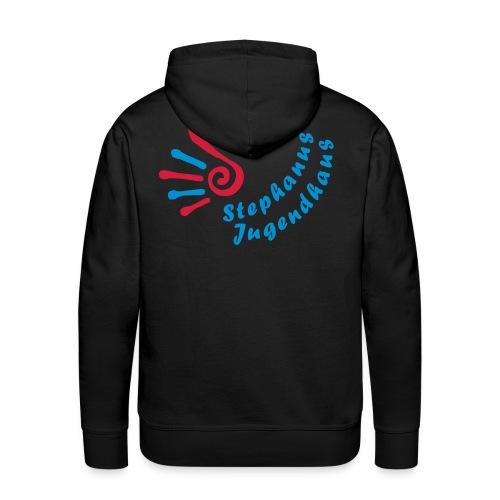 Jugendhaus Sweater mit Name vorne und Logo hinten - Männer Premium Hoodie