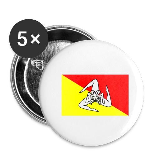 Spilla con bandiera siciliana - Spilla media 32 mm