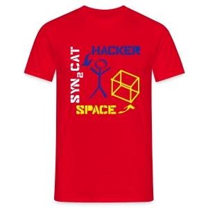 hacker + space shirt (red edition) - Men's T-Shirt