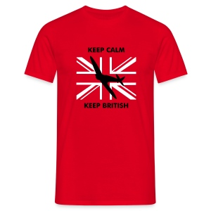 Keep Calm Keep British Spitfire and Union Flag - Men's T-Shirt