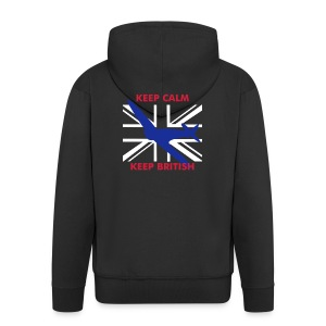Keep Calm Keep British Spitfire and Union Flag - Men's Premium Hooded Jacket