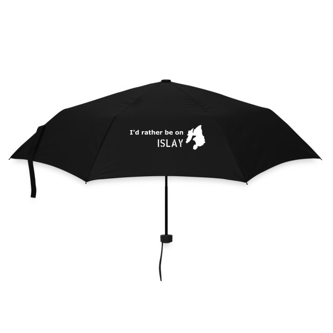 I'd rather be on Islay Umbrella (White on Navy)