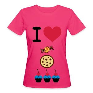 I Love food T-Shirt. - Vrouwen Bio-T-shirt