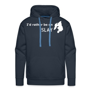 I'd rather be on Islay Hoodie - Front (White on Navy) - Men's Premium Hoodie