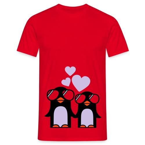 Pingviner (rød) - T-skjorte for menn