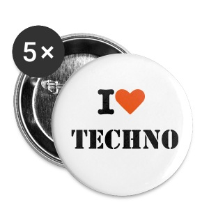 i love techno - Buttons mittel 32 mm