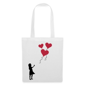 Heart balloon girl silhouette - Tote Bag