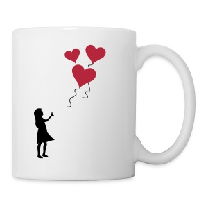 Heart balloon girl silhouette - Mug