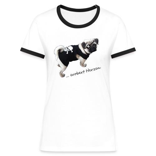 Mops erobert Herzen Shirt - Frauen Kontrast-T-Shirt