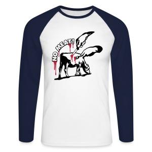 Mens Longsleeve 'NO MEAT!' Base - Männer Baseballshirt langarm