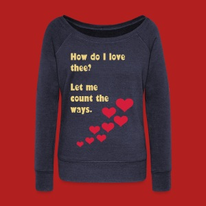 How do I love thee? Let me count the ways - Women's Boat Neck Long Sleeve Top - Women's Boat Neck Long Sleeve Top