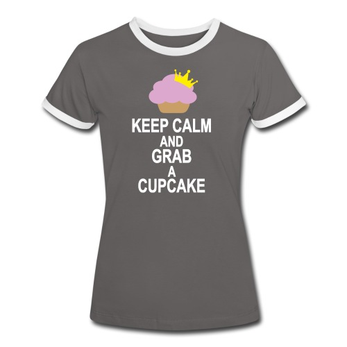 Keep Calm and grab a royal Cupcake - Frauen Kontrast-T-Shirt