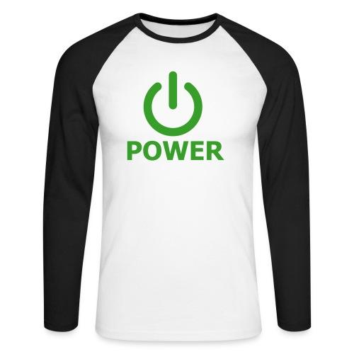 Turn power on! - Langærmet herre-baseballshirt