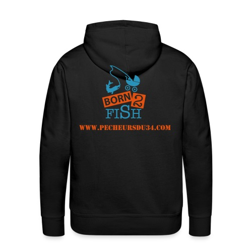 Sweat Capuche Born to Fish Bleu Orange - Sweat-shirt à capuche Premium pour hommes