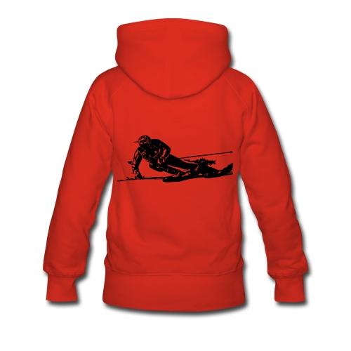Skieur de descente - Sweat-shirt à capuche Premium pour femmes
