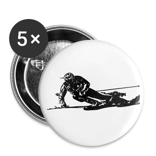 Skieur de descente - Lot de 5 petits badges (25 mm)