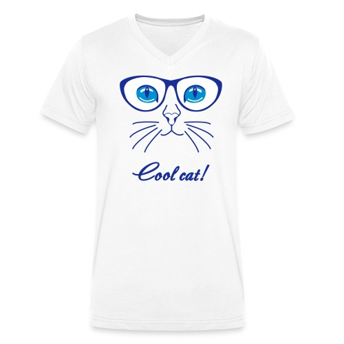 Cool Cat - Men's Organic V-Neck T-Shirt by Stanley & Stella