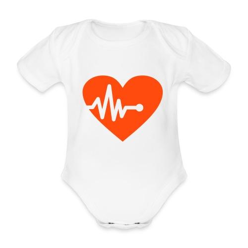 Babybody med hjerte og ekg - Økologisk kortermet baby-body