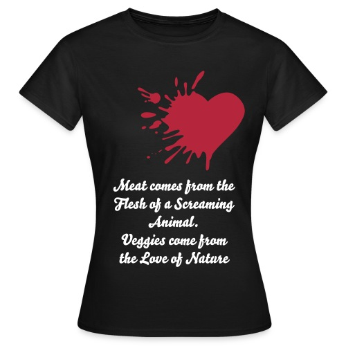Meat comes from the flesh... women's black t-shirt - Women's T-Shirt
