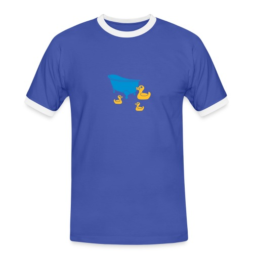 Vintage Retro Comic Swimming Pool Ducks Holiday - Männer Kontrast-T-Shirt