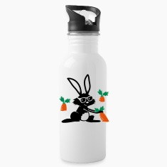 A rabbit with sunglasses in a carrot field Bottles & Mugs