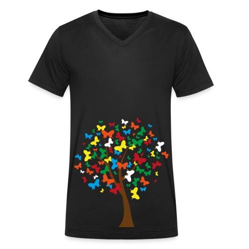Schmetterlingsbaum - Männer Bio-T-Shirt mit V-Ausschnitt von Stanley & Stella
