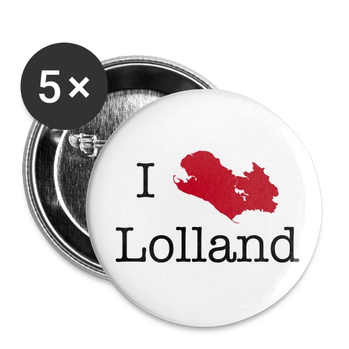 I love Lolland -badges - Buttons/Badges stor, 56 mm (5-pack)