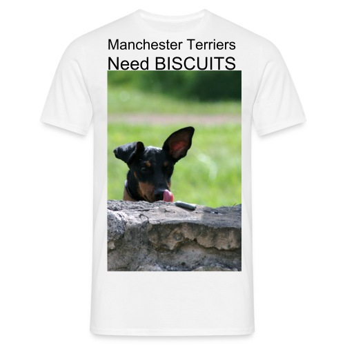 Men's T-Shirt - My Manchester terrier licks his lips whilst waiting for the OK to get his biscuit waiting on the wall in front of him, you can almost hear the saliva !!
