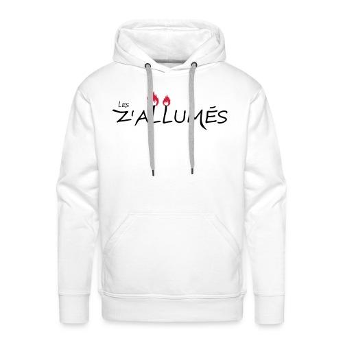 Sweat-shirt à capuche Premium pour hommes - Sweat-shirt blanc à capuche Premium pour hommes Logo imprimé devant.  2017 - Les Z'allumés de Rodemack Compagnie Théâtrale
