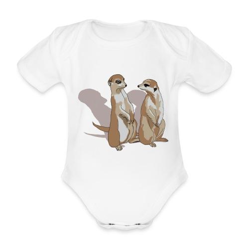 zwei Erdmännchen mit Schatten - Baby Bio-Kurzarm-Body