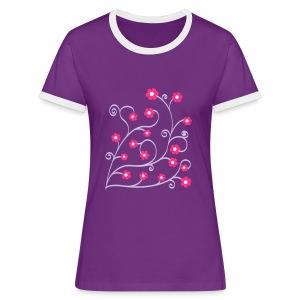 geringelte Blümlis - Frauen Kontrast-T-Shirt