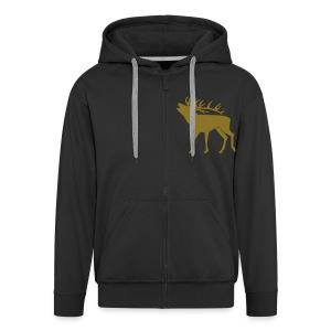 tiershirt t-shirt hirsch röhrender brunft geweih elch stag antler jäger junggesellenabschied förster jagd - Männer Premium Kapuzenjacke